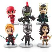 Smart Buy Avengers Infinity War Set of Flash, Hulk Ragnarok, Loki, Thor, Wonder Woman, Black Panther Action Figure Toys (6 Pieces)