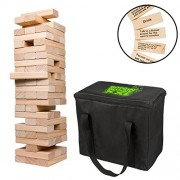 Giant Stacking Tower Drinking Game (Stacks up to 4ft) - 60pcs Wooden Blocks with Drinking Commands (21+ only!)