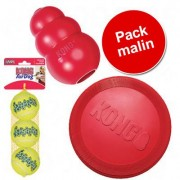 Pack malin : 3 jouets KONG - L (frisbee, Kong Classic L, 2 balles de tennis L)