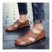 Zapatos planos de suave cuero hombre zapatillas Sandalia confortable playa transpirable Brown