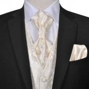 vidaXL Мъжка жилетка за сватба, комплект, пейсли мотив, размер 56, кремава