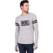 TRENDS TOWER Full Sleeve Round Neck Thumb Ring Mens T-Shirt Grey-Melange Color Rebel Sport Graphics Print