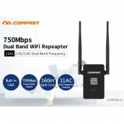 EY CF-WR750AC Professional Wireless Wifi Repeater 750Mbps Dual Band 2.4/5.8G Range Expander Signal Booster Extender-black