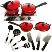 13PCS Cook Ware Toy House Kitchen Pretend Play Utensils Cooking Pots Pans Food Dishes Kids Cookware