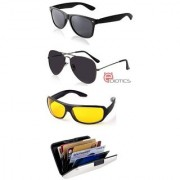 Ediotics Attitude Black Aviator Sunglasses Black Wayfarer Sunglasses & Yellow Night Driving Sunglasses Combo & Alumi Wallet Combo