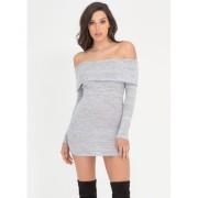 CheapChic Knit Us Up Off-shoulder Minidress Grey