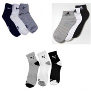 Puma Adidas And Nike Multicolour Cotton Ankle Length Socks - 3-3-3 Pairs
