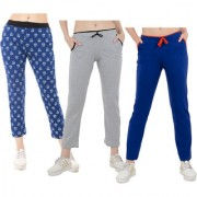 IndiWeaves Women Printed and Solid Cotton Trackpants/Lowers (Pack of 3)