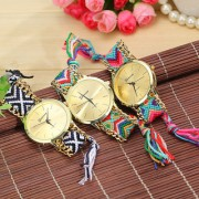 Handmade Branded Friendship Bracelet Geneva Gold Ladies Watch 1 pis