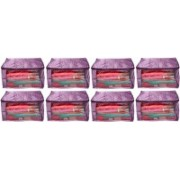 Shivanshshine Pack Of 8 Pc Designer Large Quilted Satin 12 inch Garment Cover and Saree Cover(Purple)(Purple)