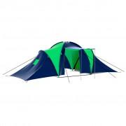 vidaXL Полиестерна палатка за къмпинг за 9 човека, цвят синьо-зелен
