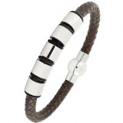 3D Punk High Quality Braided 100 Genuine Leather 316L Stainless Steel Wrist Band Bracelet For Men