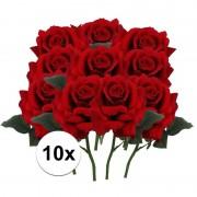 Bellatio flowers & plants 10x Rode rozen deluxe kunstbloemen 31 cm