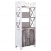 vidaXL Dulap de baie, alb și maro, 46 x 24 x 116 cm, lemn de paulownia