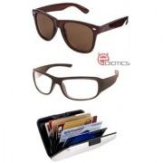Ediotics Classic Brown Wayfarer & Transparent Night Driving Sunglasses & Alumi Wallet Combo