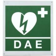 cartello segnaletico presenza defibrillatore dae in alluminio - 34x36c