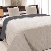 220x240 cm ágytakaró - ezüstszürke - fekete steppelt