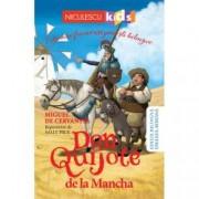 Don Quijote de la Mancha - repovestire Editie bilingva engleza-romana