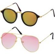Freny Exim Round Sunglasses(Golden, Pink)