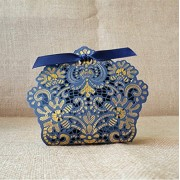 Worldoor® 50ps Laser Cut Navy Blue Wedding Candy Box Gift Boxes Wedding Party Favors Chocolate Box