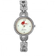 Arum White Silver With Stone Round Ladies Watch AW-094