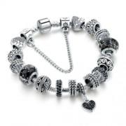 Pandora stílusú kristályos Karkötő szív függővel - Fekete