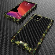 R-JUST ShocKproof Carbon Fiber Texture Silicone + Metal Hybrid Case for iPhone 11 6.1 inch (2019) - Black/Camouflage