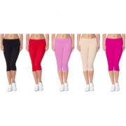 Jakqo Women's Cotton Bio-Wash Capri (Free Size Pack Of 5 Black Red Baby Pink Tan Hot Pink)