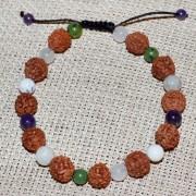 Bratara zodia Rac cu rudraksha si pietre semipretioase