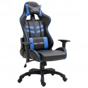 vidaXL Геймърски стол, синьо, PU