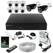 CP PLUS 8 CH DVR 6 HD-CVI DOME 2 HD-CVI BULLET CAMERA 1MP 1 TB HDD 3+1 CCTV WIRE BUNDEL 8 CH POWER SUPPLY MOUSE REMOTE BNC DC. COMPLETE FULL COMBO