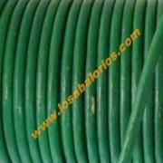 Cuero redondo 2mm color verde ( precio por 50 cm)