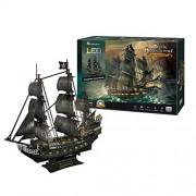 CubicFun L520h Queen Anne's Revenge Pirate Ship Model Kit (with LEDs) 3D Puzzle, Large 340 Pcs