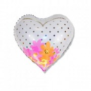 Balon folie inima mireasa flori 45cm