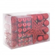 Set 100 Globuri de Craciun cu Varf de Brad model Stea, rosu