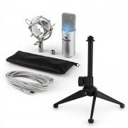 Auna MIC-900S-LED V1, USB микрофонен комплект, сребърен кондензаторен микрофон + стойка за маса (60001937-V1)