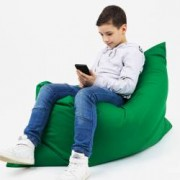 Fotoliu tip perna pentru copii si adulti cu husa detasabila verde Buhuhoo 120 x 100 cm