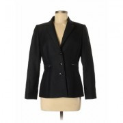 Tahari by ASL Blazer Jacket: Black Solid Jackets & Outerwear - Size 6 Petite