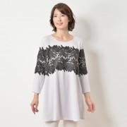 MNK ボ-ダーレースチュニック【QVC】40代・50代レディースファッション