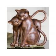 Decoratiune cu grup de 2 pisici din rasina cod HAL015