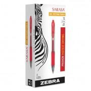 Sarasa Retractable Gel Pen, Red Ink, Medium, Dozen