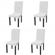 vidaXL Capa extensível para cadeiras, 4 pcs, branco