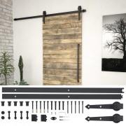 vidaXL Комплект механизъм за плъзгаща врата, 183 см, стомана, черен