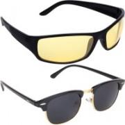 Aoking Wrap-around, Clubmaster Sunglasses(Yellow, Black)
