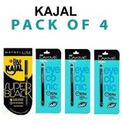 kajal New York Super Black 1 + Eyconic 3 (Pack of 4) (0.35 gm each) Kajal Pencils