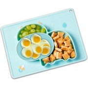 Placemat Kinderen - Kinderservies - Baby Placemat - 2 in 1 Antislip Babybord - Siliconen Duurzaam Vaatwasser Bestendig Koe Blauw