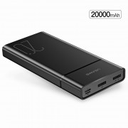 USAMS US-CD75 PB14 Dual USB Power Bank 20000mAh for iPhone XS/XS Max/XR/X, Samsung Galaxy S10/S9/S8 Etc. - Black