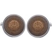 Tripin Brass Cufflink(Silver, Brown)