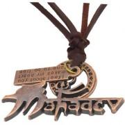 Men Style Religious Jewelry Rock Shiv Mahadev Trishul Copper Brown Bronze Leather Necklace Pendant