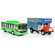 Jack Royal Low Floor Bus With Public Truck Toys Kit (Green & Red) - Combo Pack Of 2